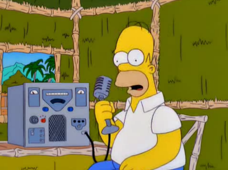 Homer simpson at Radio transceiver